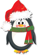 penguin wearing santa hat